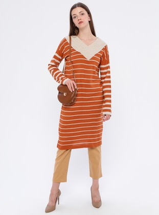 Terra Cotta - Stripe - V neck Collar - Acrylic -  - Tunic