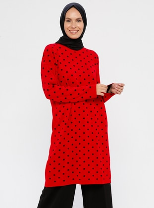 Red - Polka Dot - Crew neck - Acrylic -  - Wool Blend - Knit Tunics