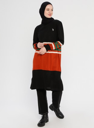 Black - Stripe - Crew neck - Acrylic -  - Tunic