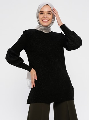 Black - Crew neck - Acrylic -  - Knit Tunics