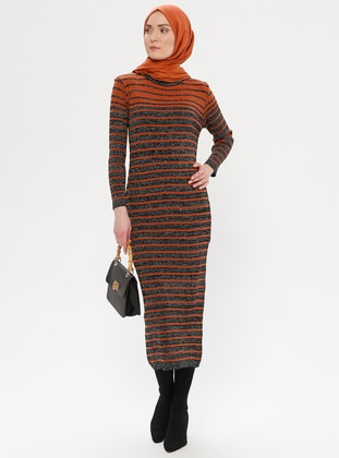 Black - Stripe - Crew neck - Acrylic -  - Wool Blend - Tunic