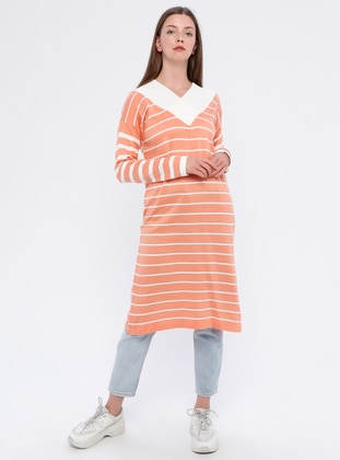 Salmon - Stripe - V neck Collar - Acrylic -  - Tunic
