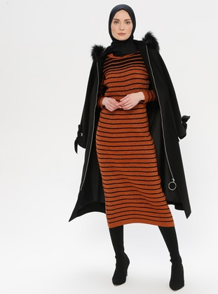 Terra Cotta - Stripe - Crew neck - Acrylic -  - Wool Blend - Tunic