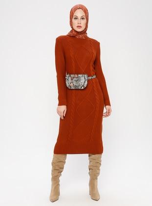 Terra Cotta - Unlined - Crew neck -  - Knit Dresses