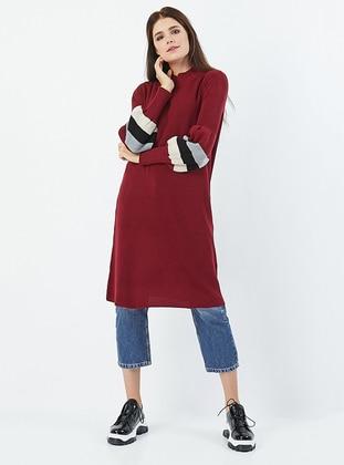 Maroon - Polo neck - Acrylic - Knit Tunics