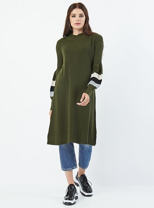 Khaki - Polo neck - Acrylic - Knit Tunics