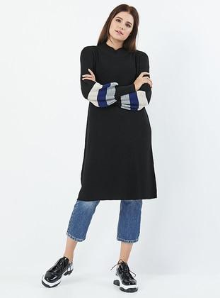 Black - Polo neck - Acrylic -  - Knit Tunics