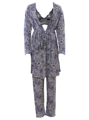 Navy Blue - Viscose - Morning Robe