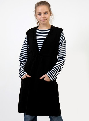 Black - Unlined - V neck Collar - Acrylic -  - Vest
