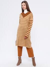 Camel - Stripe - V neck Collar - Acrylic -  - Tunic