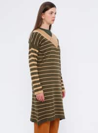 Khaki - Stripe - V neck Collar - Acrylic -  - Tunic