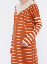 Terra Cotta - Stripe - V neck Collar - Acrylic -  - Tunic