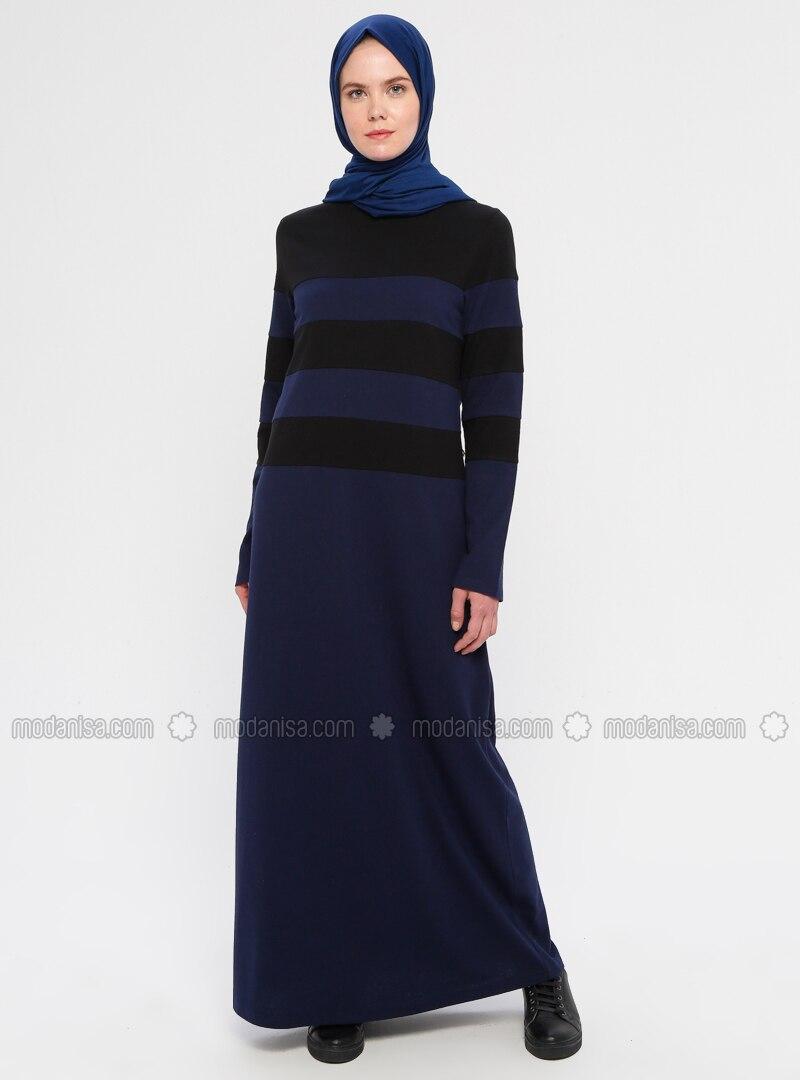 Indigo - Black - Stripe - Crew neck - Unlined -  - Dress