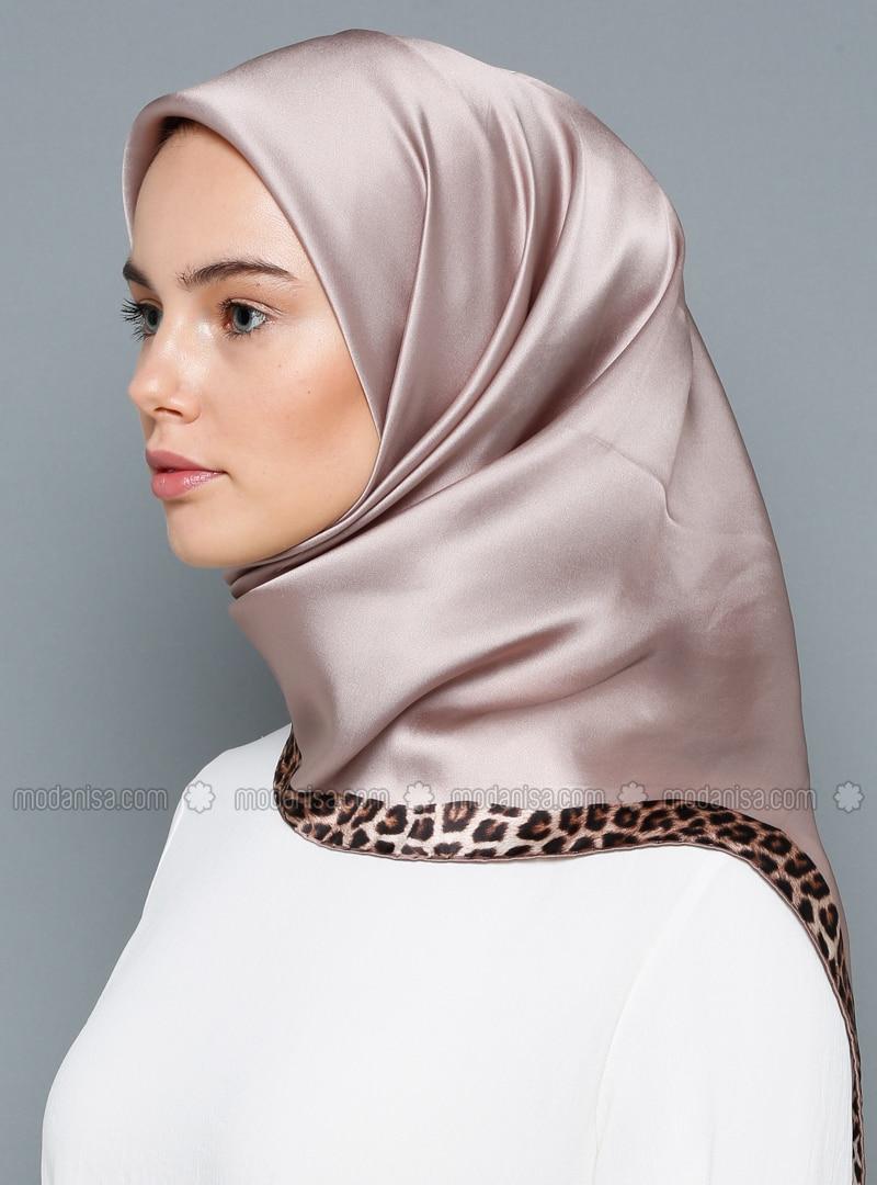 Multi - Leopard - Plain - Leopard - %100 Silk - Scarf