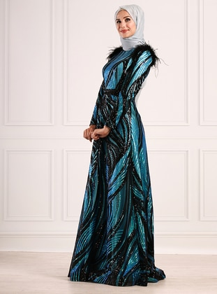 Turquoise - Multi - Fully Lined - Crew neck - Viscose - Muslim Evening Dress