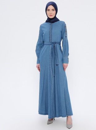 Blue - Unlined - Crew neck - Denim -  - Abaya