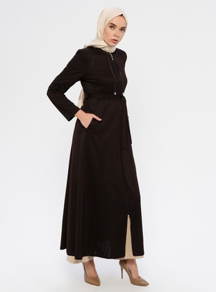 Brown - Unlined - Crew neck - Abaya