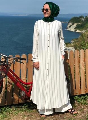 White - Stripe - Unlined -  - Viscose - Suit