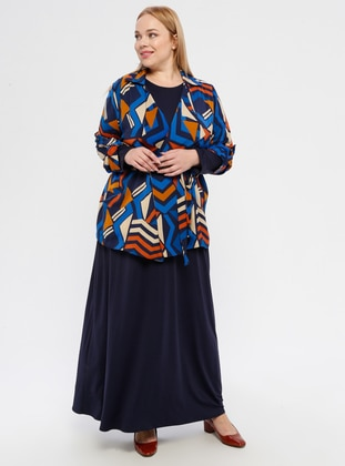 Navy Blue - Orange - Multi - Shawl Collar - Fully Lined - Plus Size Evening Suit