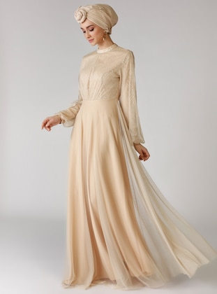 Beige - Polo neck - Unlined - Dress