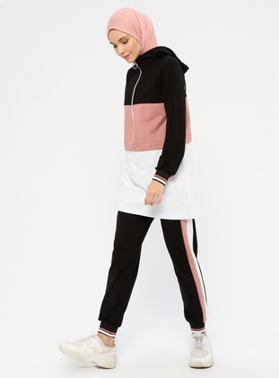 Dusty Rose - Black -  - Polo neck - Tracksuit Set - Marwella