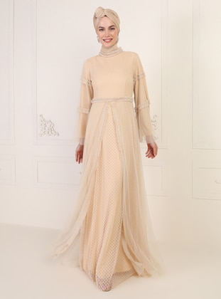 Beige - Fully Lined - Polo neck - Muslim Evening Dress