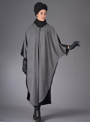 Black - Crew neck - Unlined - Acrylic - Wool Blend - Poncho
