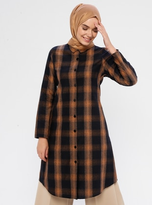 Brown - Checkered - Point Collar -  - Tunic