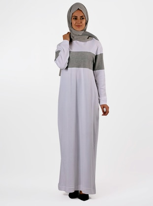 Ecru - Crew neck - Unlined -  - Dress