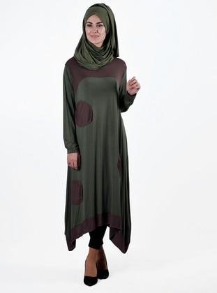 Khaki - Green - Crew neck - Viscose - Tunic