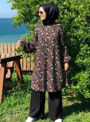 Black - Floral - Unlined -  - Suit