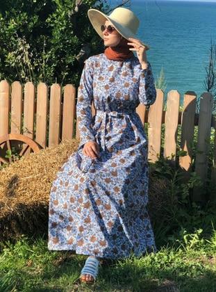 Blue - Floral - Crew neck - Unlined -  - Dress