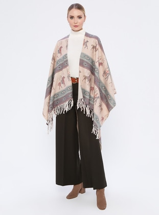 Purple - Ethnic - Acrylic - Poncho