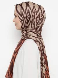 Brown - Printed -  - Shawl