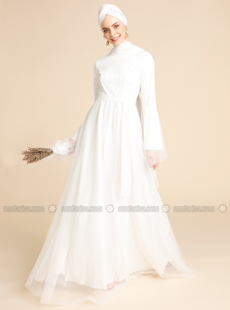 Ecru - Crew neck - Fully Lined - Dress