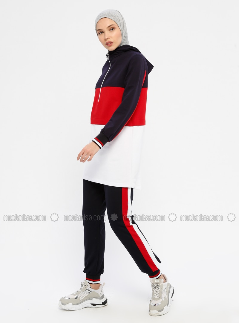 Red - Navy Blue -  - Polo neck - Tracksuit Set