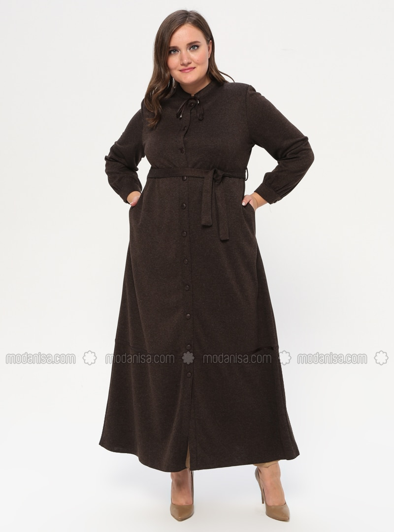 Brown - Crew neck - Unlined - Plus Size Abaya
