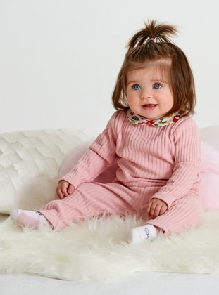Floral - Crew neck -  - Unlined - Powder - Baby Suit