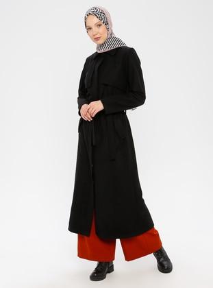 Black - Unlined - Point Collar - - Coat