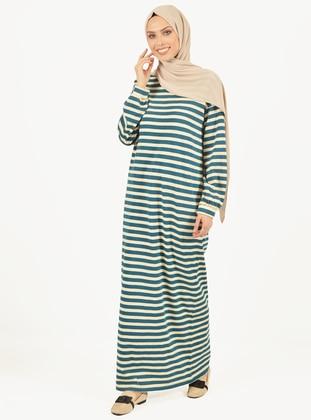 Ecru - Turquoise - Stripe - Crew neck - Unlined -  - Dress