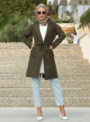 Khaki - Unlined - Shawl Collar -  - Trench Coat