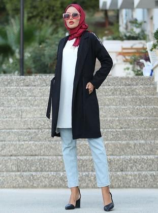 Black - Unlined - Shawl Collar -  - Trench Coat