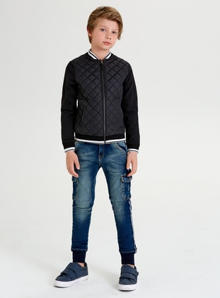 Crew neck -  - White - Black - Boys` Jacket - Wonder Kids