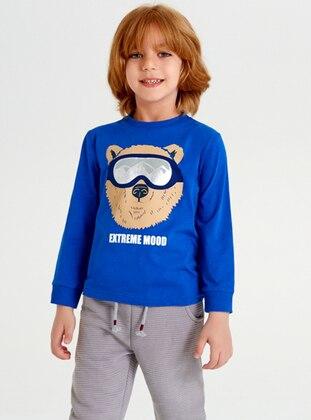 Crew neck -  - Blue - Boys` Sweatshirt