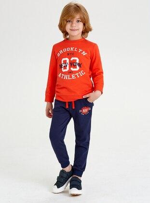 Crew neck -  - Orange - Boys` Sweatshirt