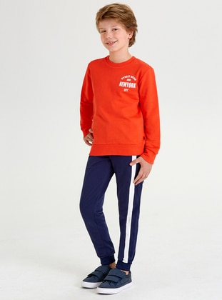 Crew neck -  - Orange - Boys` Sweatshirt