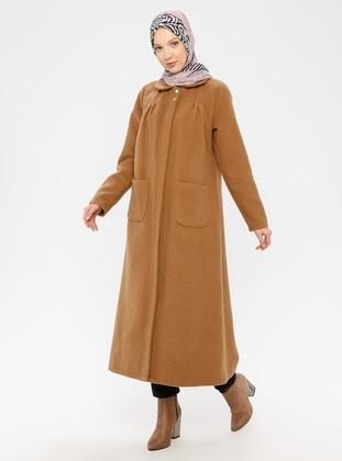 Camel - Unlined - Crew neck -  - Coat