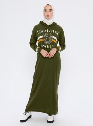 Khaki - Unlined - Acrylic -  - Wool Blend - Dress