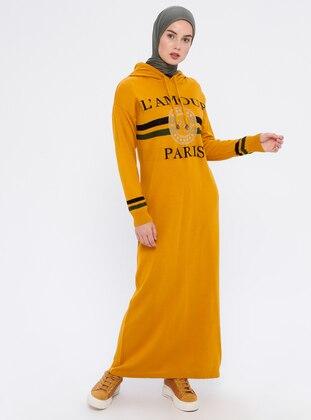 Mustard - Unlined - Acrylic -  - Wool Blend - Dress