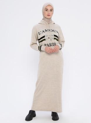 Cream - Unlined - Acrylic -  - Wool Blend - Dress